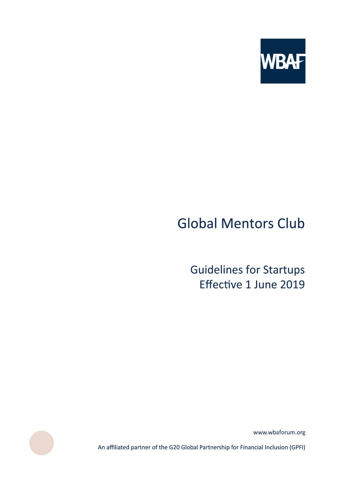 Global Mentor Club - Guidelines for Startups